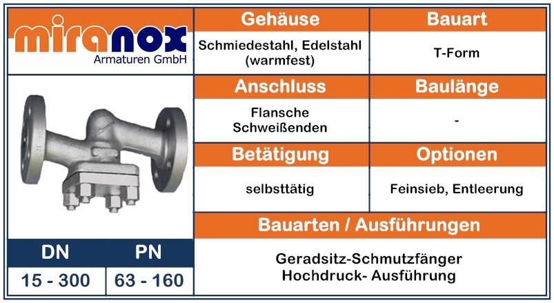 Schmiedestahl Hochdruck-Schmutzfänger PN100 PN160