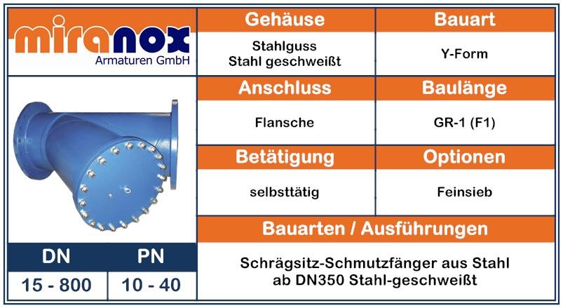 Schrägsitz-Schmutzfänger aus GP240GH - St37-2 stahl geschweißt